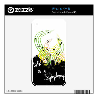 Life is a Symphony iphone case Skins For iPhone 4