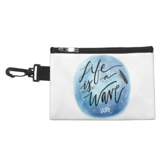 Life is a wave Surf board watercolor typography Accessory Bags