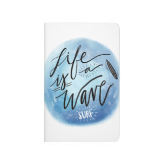 Life is a wave Surf board watercolor typography Journal