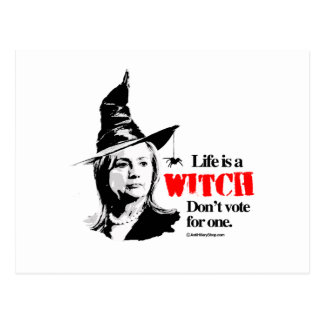 Life is a witch don't vote for one postcard
