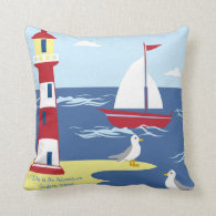 Life Is An Adventure Nautical BOY Godson Gift Throw Pillow