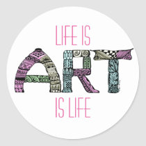 artsprojekt, doodle, coloring book, art, word, hand drawn, blackandwhite, art is life, life is art, drawing, unique, original, ink, artist, Sticker with custom graphic design