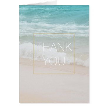 Beach Themed Life is Beautiful Aqua Beach Thank you Card