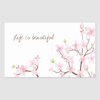 Life is Beautiful Cherry Blossoms Sticker