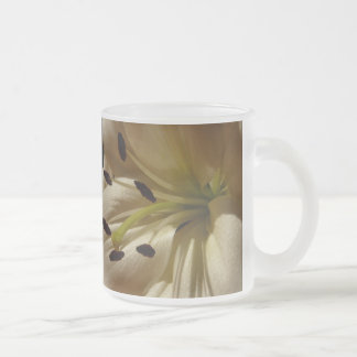 Life is Beautiful -  Elegant White Lily 10 Oz Frosted Glass Coffee Mug