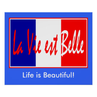 Life is Beautiful - La Vie est Belle! French Flag Poster