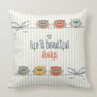Life is Beautiful Little Owls Throw Pillow