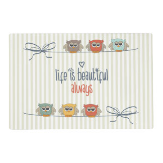 Life is Beautiful Owls Placemat