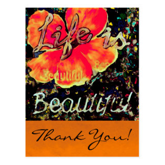 Life is Beautiful ~ Postcard Thank You Abstract