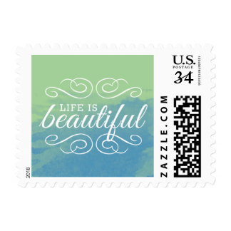Life is Beautiful Watercolor Blue Green Typography Postage