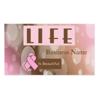 Life Is Beautiiful, Breast Cancer Survivor Double-Sided Standard Business Cards (Pack Of 100)