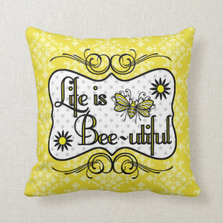 Life is Bee-utiful Personalized Pillow (Yellow)