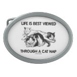 Life Is Best Viewed Through A Cat Nap (Three Cats) Oval Belt Buckle