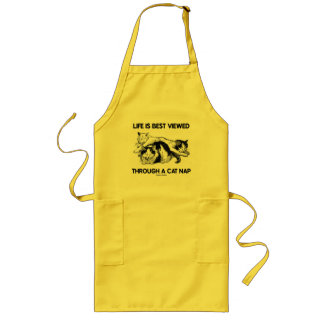 Life Is Best Viewed Through A Cat Nap (Three Cats) Long Apron