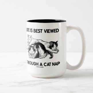 Life Is Best Viewed Through A Cat Nap (Three Cats) Two-Tone Coffee Mug