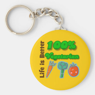 Life is Better 100 Percent Vegetarian Keychains