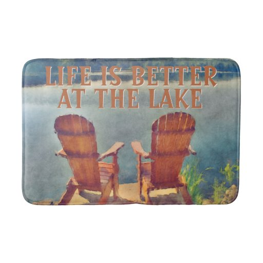 Life Is Better At Lake Watercolor Painting Bathroom Mat