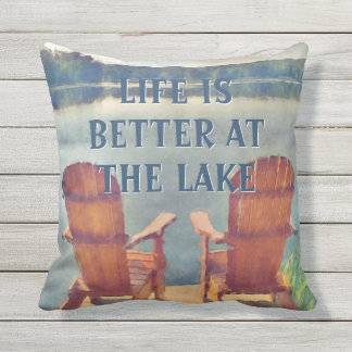 Life Is Better At Lake Watercolor Painting Outdoor Pillow