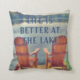 Life Is Better At Lake Watercolor Painting Throw Pillows