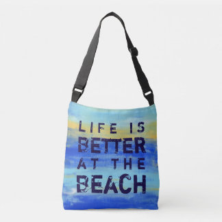 Life is Better at the Beach - Blue Abstract Art Crossbody Bag