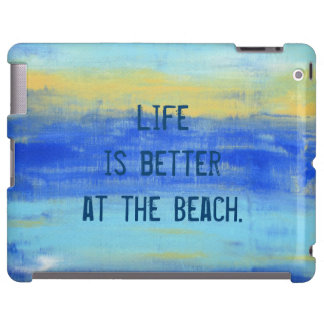 """""""Life is better at the Beach"""" Blue Yellow Art"""