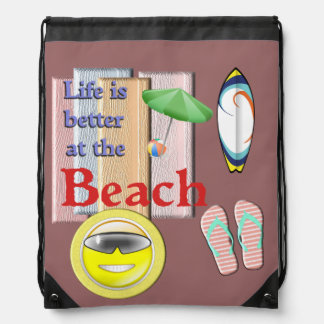 Life is better at the Beach Drawstring Bag