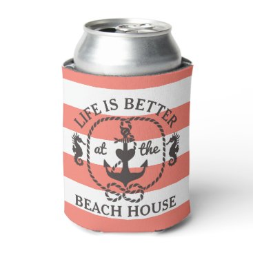 Beach Themed Life is Better at the Beach House   Coral Stripe Can Cooler