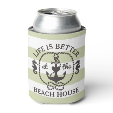 Beach Themed Life is Better at the Beach House | Sage Green Can Cooler
