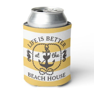 Beach Themed Life is Better at the Beach House | Sun Yellow Can Cooler