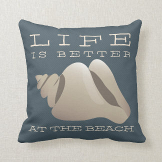 Life is Better at the Beach Nautical Blue & White Throw Pillow