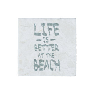 Life is Better at the Beach Stone Magnet