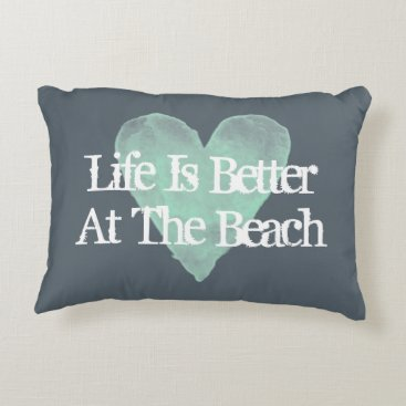 Beach Themed LIFE IS BETTER AT THE BEACH vintage accent pillows