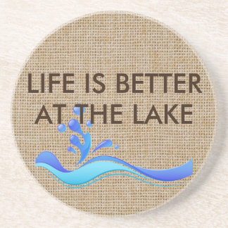 Life Is Better At The Lake Burlap Stone Coaster
