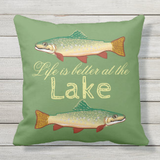 """""""Life is better at the Lake"""" Trout Throw Pillow"""