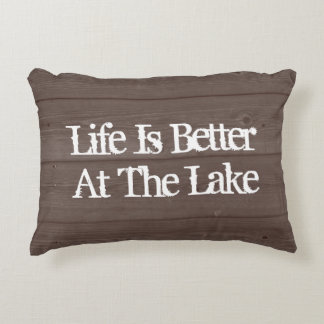 LIFE IS BETTER AT THE LAKE wood grain throw pillow