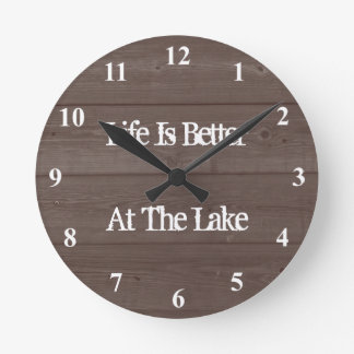 Life is better at the lake wood grain wall clock