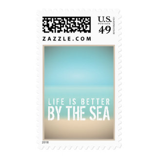 Life is Better by the Sea Beach Landscape Postage