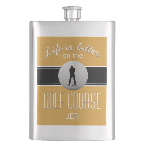 Life is Better Golfing Monogrammed Yellow Black Flask