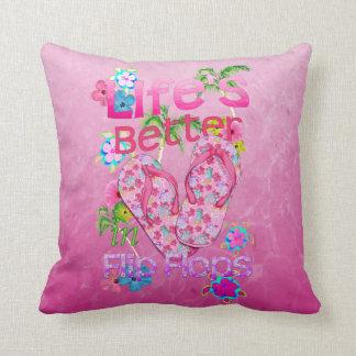 Life Is Better In Flip Flops Throw Pillow