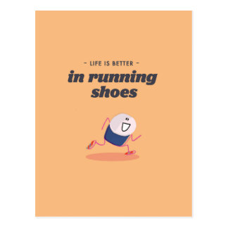 Life is better in running shoes postcard