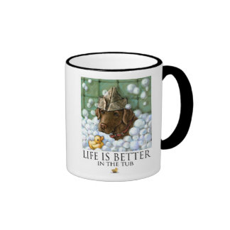 Life Is Better In The Tub - Chocolate Lab Ringer Coffee Mug
