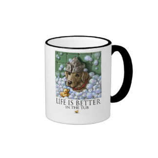 Life Is Better In The Tub - Yellow Lab Bubble Bath Ringer Coffee Mug