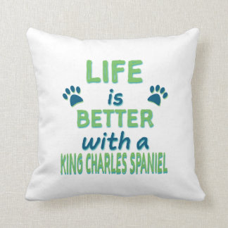 Life is Better King Charles Spaniel Badge Throw Pillow