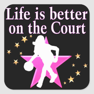 LIFE IS BETTER ON THE COURT SQUARE STICKER