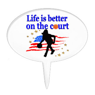 LIFE IS BETTER ON THE COURT USA DESIGN CAKE TOPPER