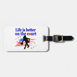LIFE IS BETTER ON THE COURT USA DESIGN LUGGAGE TAG