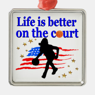 LIFE IS BETTER ON THE COURT USA DESIGN METAL ORNAMENT