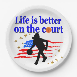 LIFE IS BETTER ON THE COURT USA DESIGN PAPER PLATE