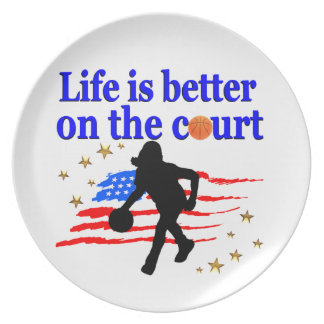 LIFE IS BETTER ON THE COURT USA DESIGN PLATE