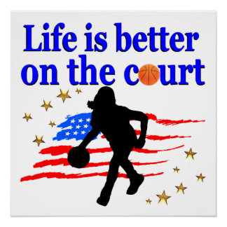 LIFE IS BETTER ON THE COURT USA DESIGN POSTER